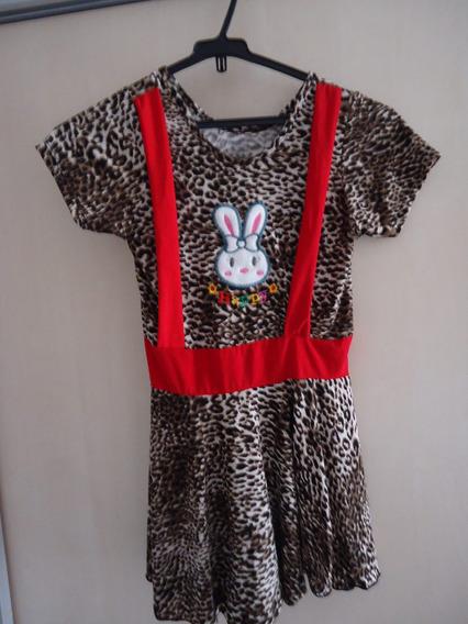 Vestido Infantil Menina Oncinha Para 4 A 6 Anos Usado