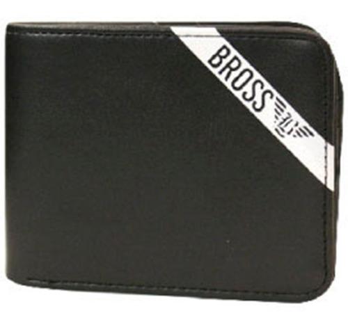 Billetera Bross Cuero Franja Bross Black Negro