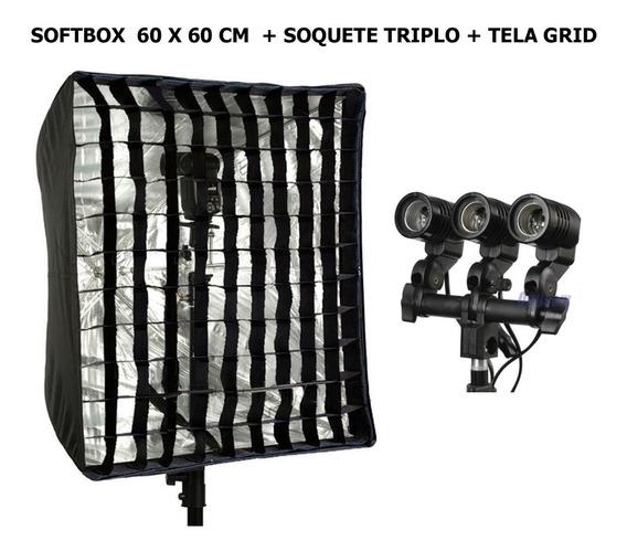 Softbox Universal 60 X 60 + Colméia Grid + Soquete Triplo