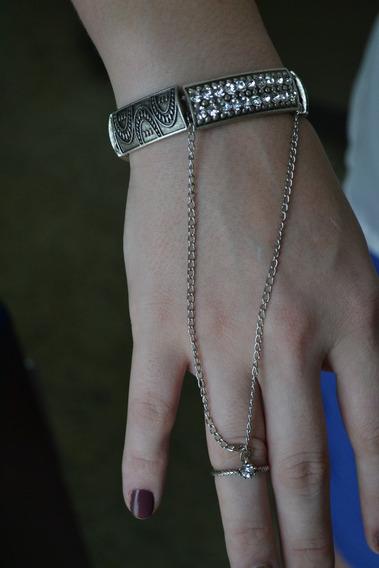 Bracelete Boho Chic Com Anel-em Banho Níquel Envelhecido
