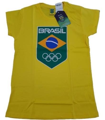 Camisa Baby Look Time Brasil Olimpiadas Rio 2016 Seleção Fem