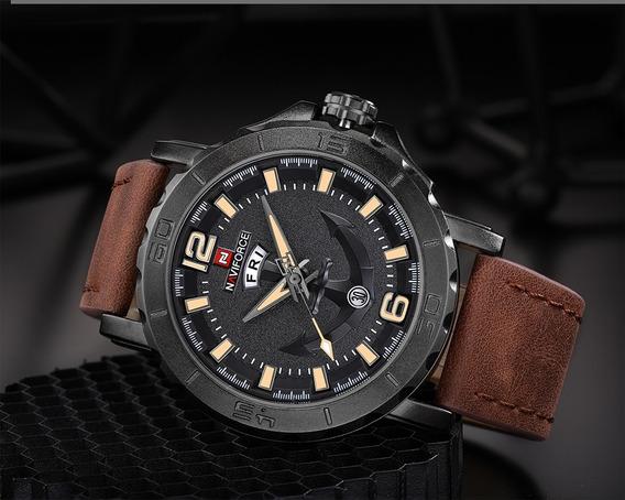 Relógio Masculino Naviforce 9112 Couro Original Luxo Barato