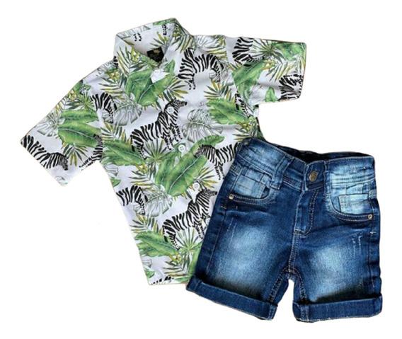 Conjunto Infantil Roupa Masculina Bermuda Camisa Zebra 1 A 6