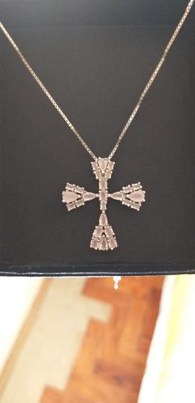 Colar Prata 925 Cruz Crucifixo Zircônias Rosa/azul/vermelho