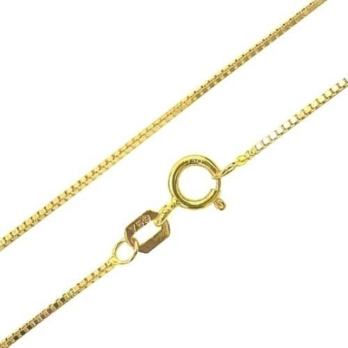 Cordão Veneziana Ouro 18k Feminino 40cm 45cm