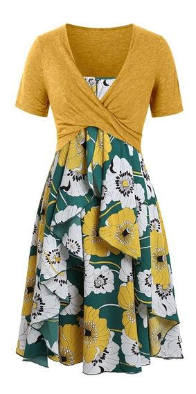 Vestido Con Top Talla Grande Estampado Floral En Capas