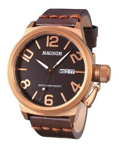 Relógio Magnum Masculino Ma33399m Couro Marrom Original