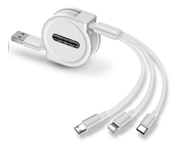 Cable Retractil Celular 3x1 iPhone Tipo C Mini Usb T1b Full