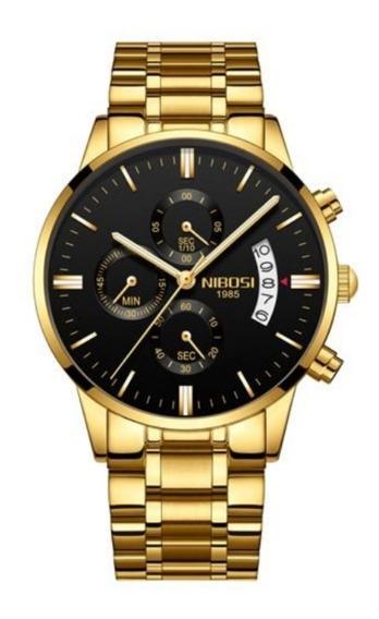 Relógio Nibosi Dourado Produto Original Com Garantia