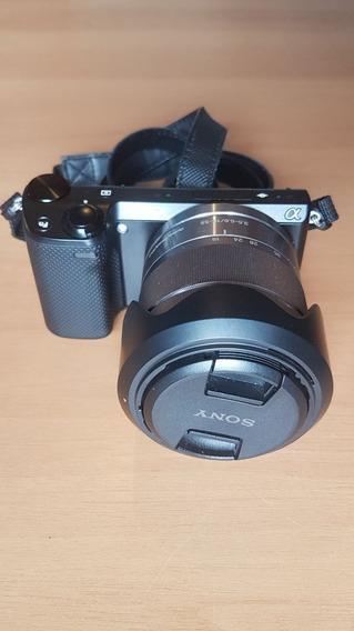 Câmera Sony Nex 5r Full Hd 1080p Wifi + 18-55mm + Capa Couro