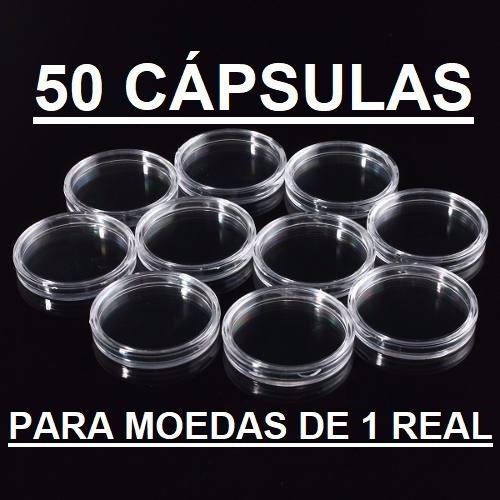 50 Cápsulas De 27mm Para Moeda De 1 Real (acrílico)