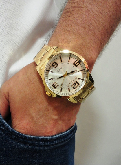 Relogio Masculino Dourado Prata Barato Relógio Top