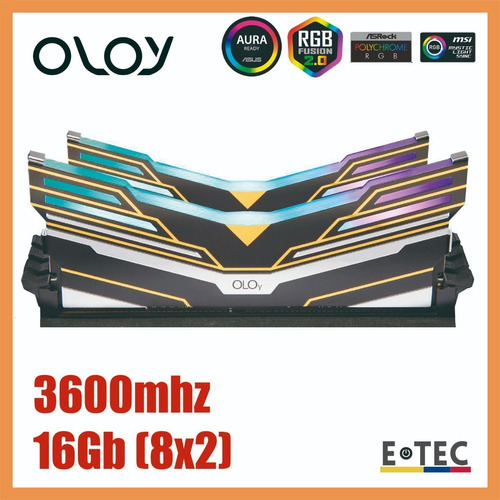 Imagen 1 de 3 de Memoria Ram Oloy Rgb 16gb (8x2) 3600 Intel/amd 8gb