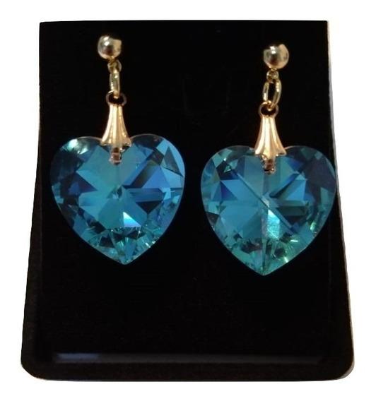 Brincos Cristal Swarovski Blue Ab 2,0cm Folheado Ouro 18k