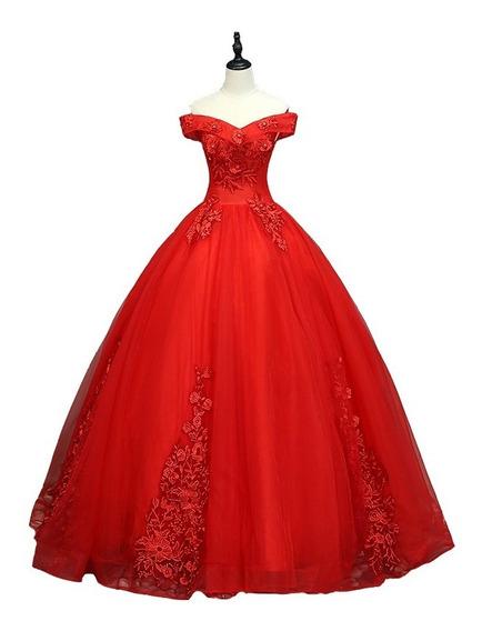 Vestido Xv Años Strapless Princesa Rojo Apliques Bordado