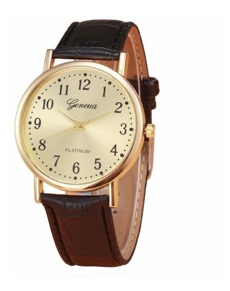Relógio Dourado Geneva Feminino Pulseira Preto Rg013f