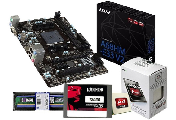 Kit Gamer Msi A68hm-e33 + A6 7480 +ddr3 4 Gb Mem + Ssd 120 K