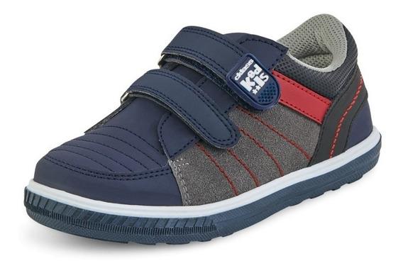 Tenis Sneakers Infantil Niño Comodo Velcro Tipo Piel Azul Gr