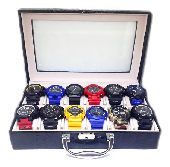 Kit Com 12 Relógios Digitais + Maleta De Brinde Luxo Coleção
