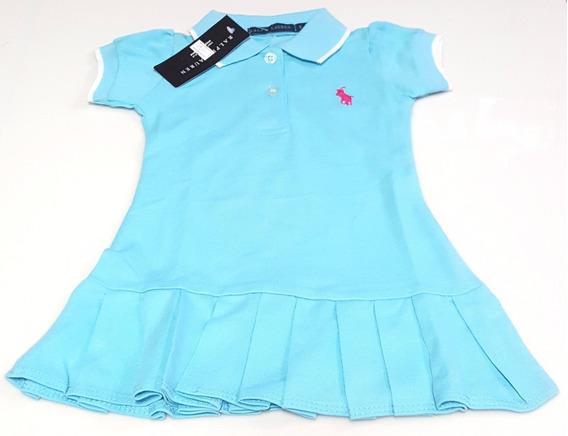 Hermoso Vestido Casual Para Bebes Niña Polo Talla 6 9 Meses
