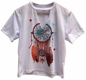 5f35f2326f T Shirts Blusas Chocker Feminina Filtro Apanhador De Sonhos