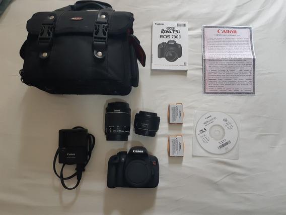 Câmera T5i Usada - Lente Do Kit 18-55 + 50mm + 2 Bateria