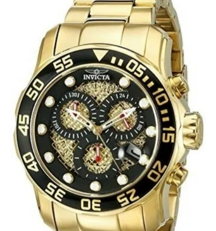 Relógio Invicta Men,s19837 Sub Pro Diver 18kgold Lon Plated