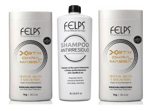 Felps Kit 2 Xbtx Okra 1kg + Shampoo Antirresiduo 1 Litro