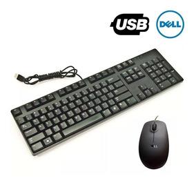 Kit Teclado E Mouse Dell Com Fio Usb Preto Detalhes Na Tecla