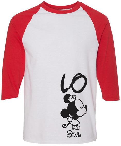 2 Playeras Beisboleras Amor Pareja Novios Mickey Cr9509