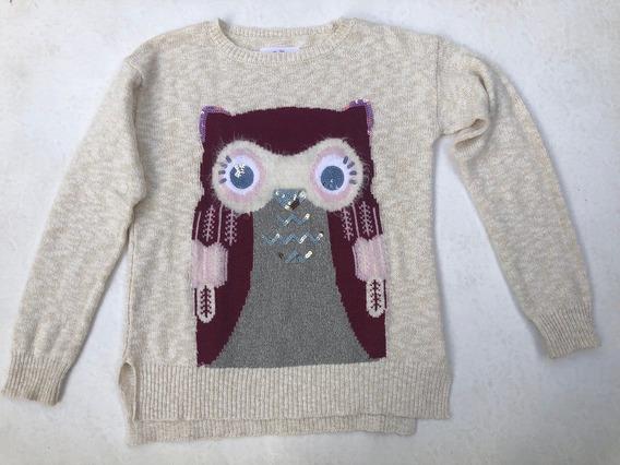 Justice Sweater Importado T10 Búho Peluche