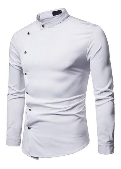 Camisa Hombre Cuello Mao Oriental Tacto Suave Al Cuerpo 2