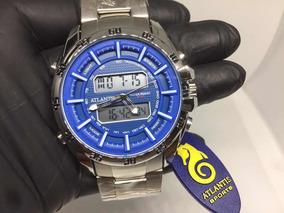 Relógio Atlantis Masculino Grande Prateado Multifuncional