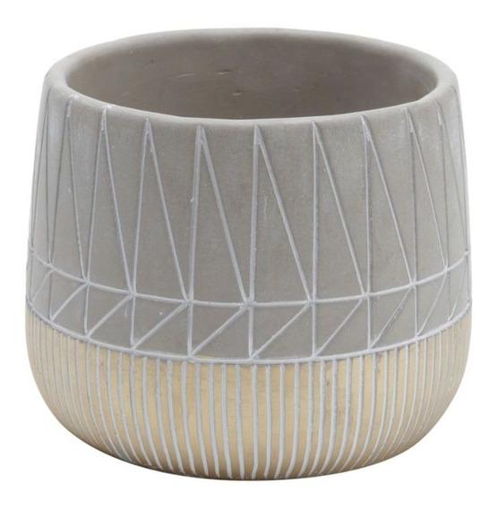 Vasos Decorativo Concreto Inlined Squares Cinza Urban