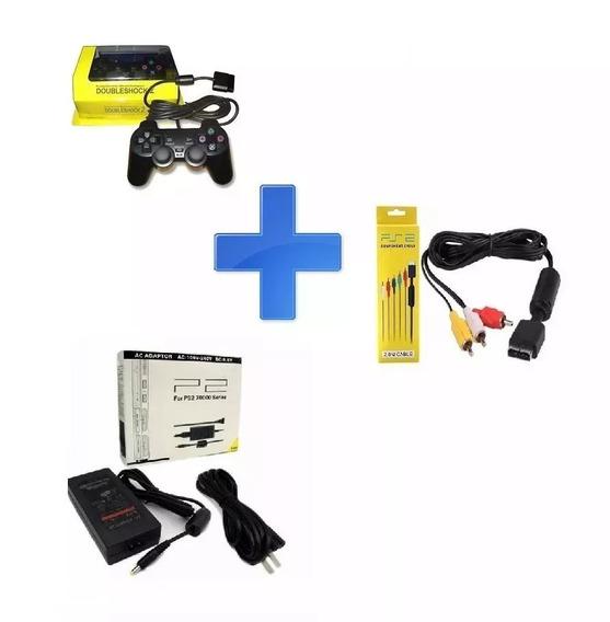 Kit Com Controle/fonte/cabo Av Ps2 Rio Cristal