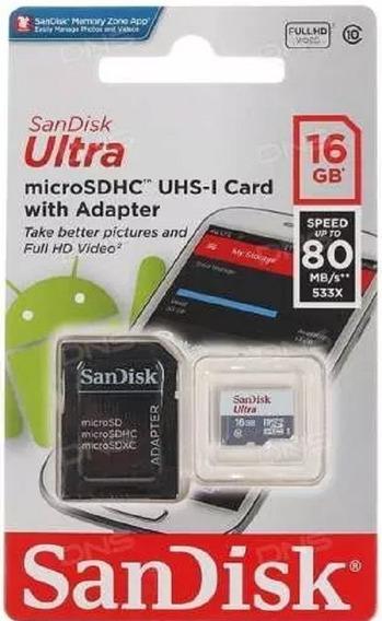 Cartão De Memória Sandisk Ultra Micro Sdhc 16gb Classe 10