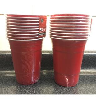 Pack 10 Vasos 500ml Plásticos Calidad Rojos Fiesta 500cc
