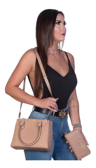 Bolsa Feminina Lateral E Carteira Clutch Croco Kit Com Frete