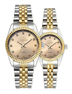 Swiss Brand Two Tone Watch Hombres Mujeres Gold Silver Stain