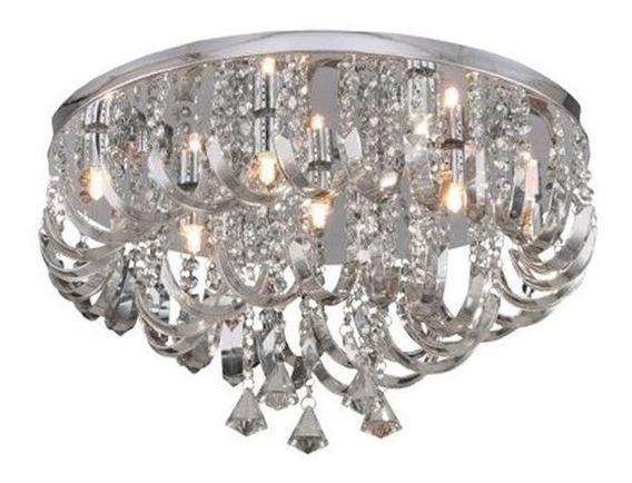 Plafon Arcos De Cristal 7 Lâmpadas Transparente Hevvy