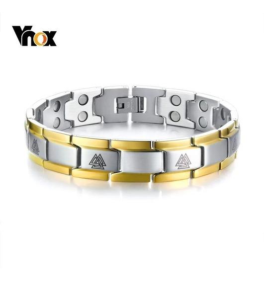 Pulseira Magnética Unissex Bracelete Aço Fir Cmn Akmos Ouro