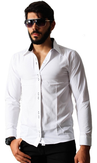 Camisa Social Masculina Facil De Passar Slim Manga Longa
