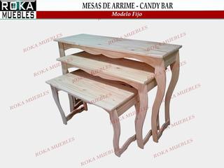 Mesa De Arrime En Pino Candy Bar De 3 Mesas Modelo Fijo