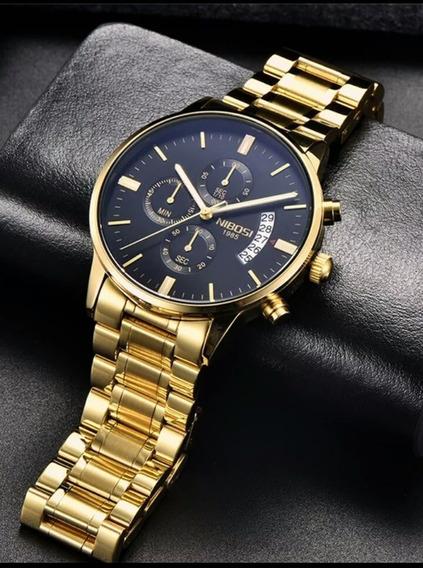 Relógio Nibosi Masulino Original Aço Inox + Caixa