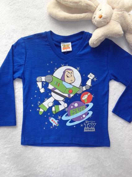 Camiseta Manga Longa Em V Malha Flamê Buzz Infantil Menino