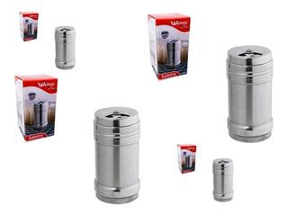 Kit 3 Porta Condimento / Saleiro De Mesa Inox 8x4cm