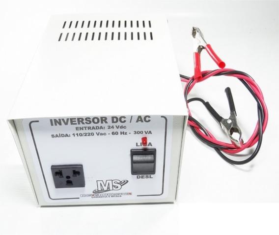 Inversor Tensão Bateria 24v 300va Nacional 110v 220v Dc - Ac Para Ligar Bateria 24v Em 127v 110v Ou 220v