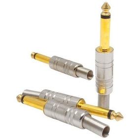 Plug Adaptador P10 Estéreo Banhado A Ouro