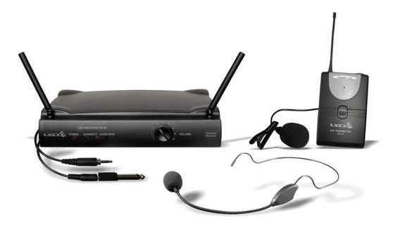 Microfone S/ Fio Headset + Lapela + Trans. Lyco Uh01hli Uhf