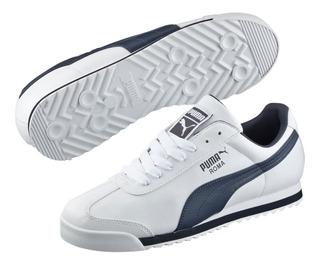 Tenis Puma Roma Hombre Blanco-azul 353572-12 Look Trendy
